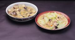 Germinados-brotes de alfalfa y brócoli FANYA, con tofu FANYA,almejas, marisco y verduras